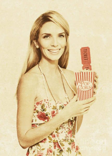 Cinematography Photograph - Vintage Woman With Pop Corn And Movie Tickets by Jorgo Photography - Wall Art Gallery