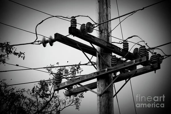 Photograph - Vintage Wood Power Poles High Voltage Electric Utility Maui Hawa by Sharon Mau