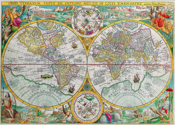 Photograph - Vintage World Map by Peggy Collins