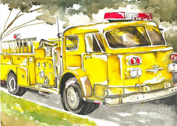 Vintage Fire Truck Painting - Vintage Yellow Fire Truck by Norah Daily