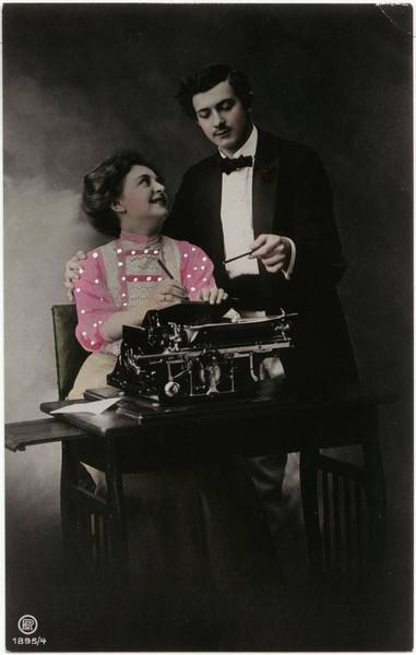 Wall Art - Photograph - Vintage Young Man And Woman Using by Gillham Studios