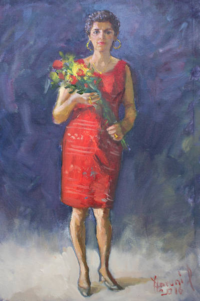 Wall Art - Painting - Viola In Red by Ylli Haruni