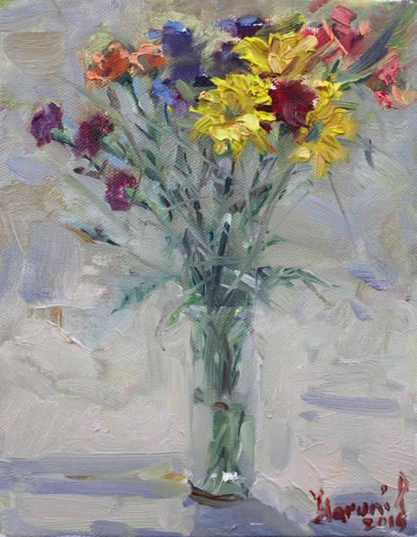 Still-life Painting - Viola's Flowers by Ylli Haruni
