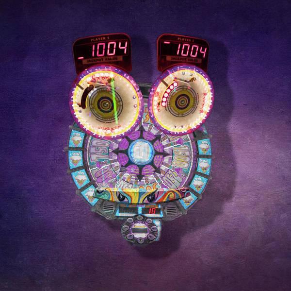Digital Art - Violet Alien Owl by Steven Greenbaum