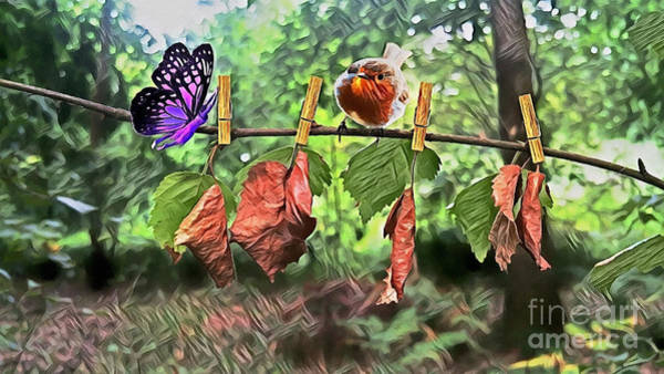 Digital Art - Violet And Robin by Abbie Shores