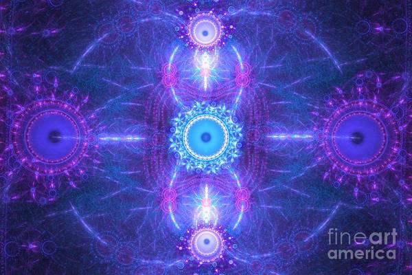 Aqua Satellite Digital Art - Violet Blue Satellites by Kim Sy Ok