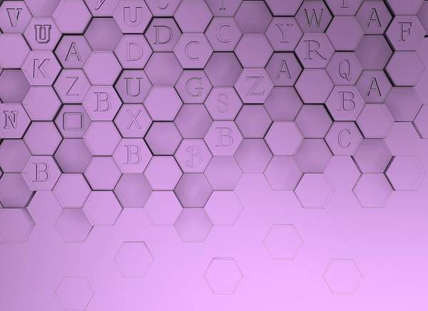 Digital Art - Violet Hexagons With Letters by Alberto RuiZ