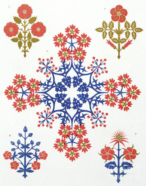 Floral Design Drawing - Violet, Iris And Tulip Motif Wallpaper Design by Augustus Welby Northmore Pugin