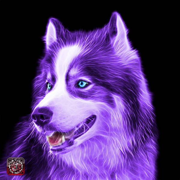 Painting - Violet Modern Siberian Husky Dog Art - 6024 - Bb by James Ahn