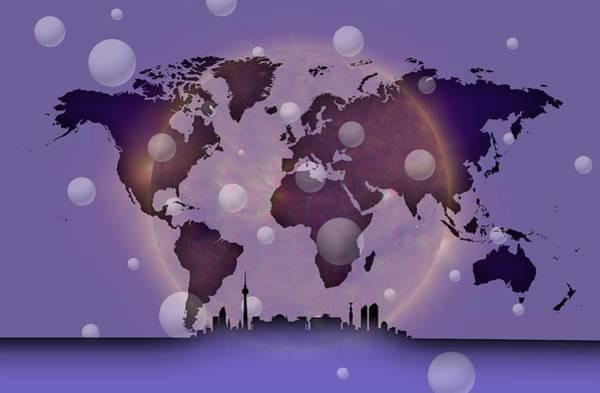 Digital Art - Violet Silhouette Of Berlin In Worldmap by Alberto RuiZ