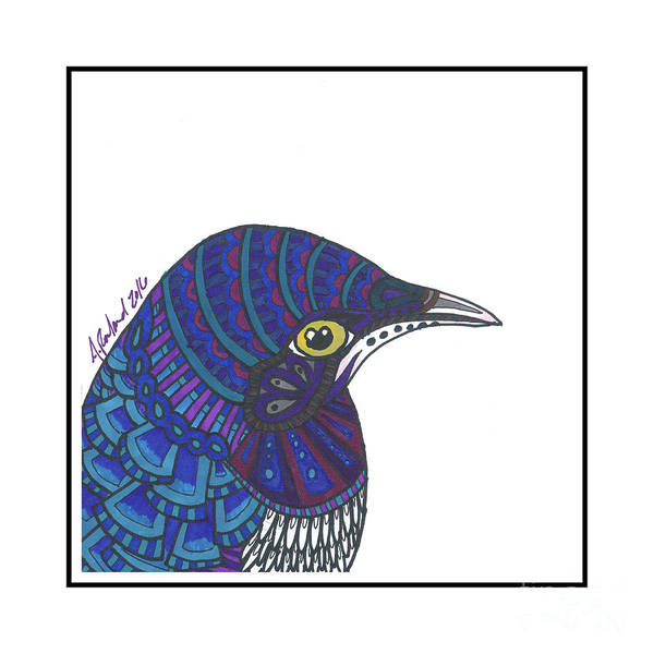 Starlings Drawing - Violet Starling #4 by Allie Rowland