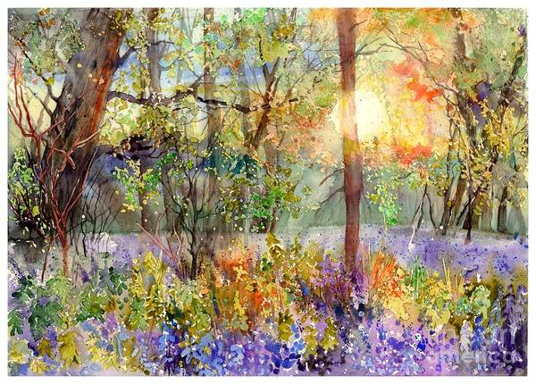 Watercolour Landscape Painting - Violet Sunrise by Suzann's Art