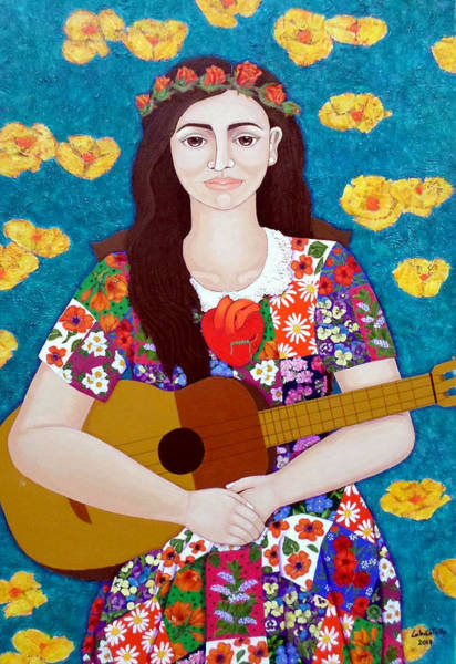 Painting - Violeta Parra And The Song The Gardener  by Madalena Lobao-Tello