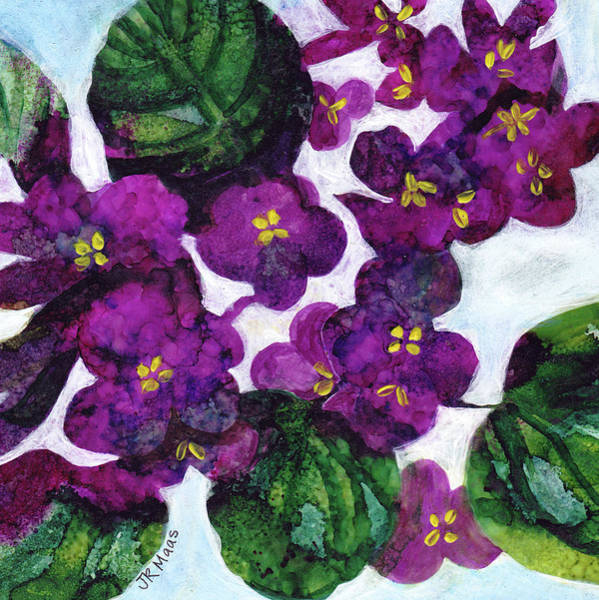 Houseplant Mixed Media - Violets by Julie Maas