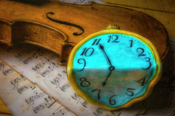 Frets Photograph - Violin And Blue Clock by Garry Gay