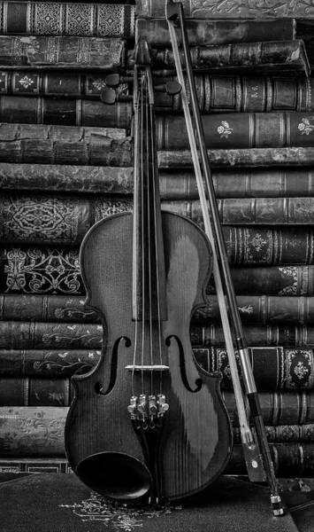 Wall Art - Photograph - Violin And Old Books Black And White by Garry Gay