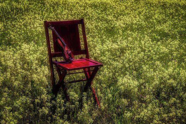 Wall Art - Photograph - Violin On Old Red Chair by Garry Gay