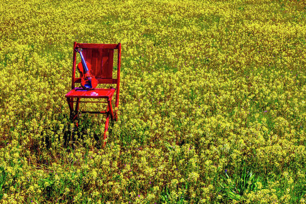 Wall Art - Photograph - Violin On Red Chair by Garry Gay