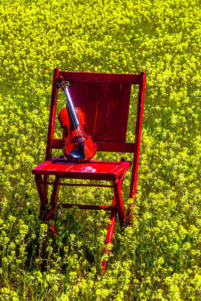 Wall Art - Photograph - Violin On Red Wooden Chair by Garry Gay