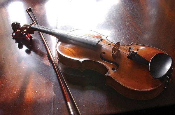 Photograph - Violin On Table by Steve Somerville