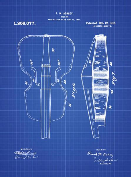 Photograph - Violin Patent 1916 Blueprint by Digital Reproduction
