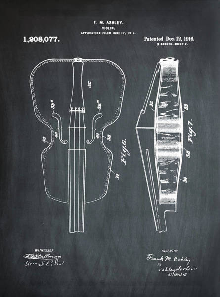 Photograph - Violin Patent 1916 Chalk by Digital Reproduction