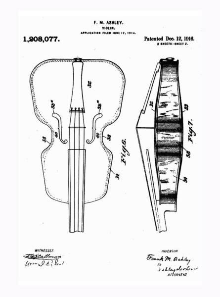 Photograph - Violin Patent 1916 by Digital Reproduction