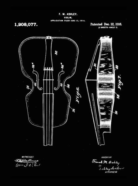 Photograph - Violin Patent 1916 In Black by Digital Reproduction