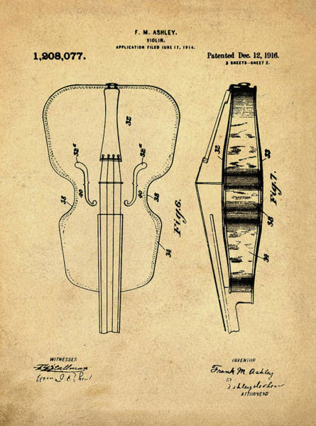 Photograph - Violin Patent 1916 In Sepia by Digital Reproduction