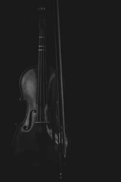 Photograph - Violin Portrait Music 16 Black White by David Haskett II