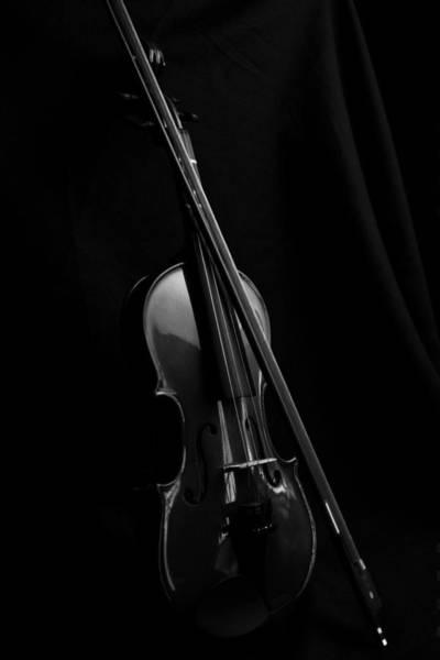 Photograph - Violin Portrait Music 29 Black White by David Haskett II