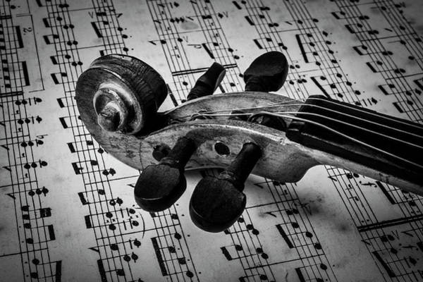 Sheet Music Photograph - Violin Scroll On Sheet Music by Garry Gay