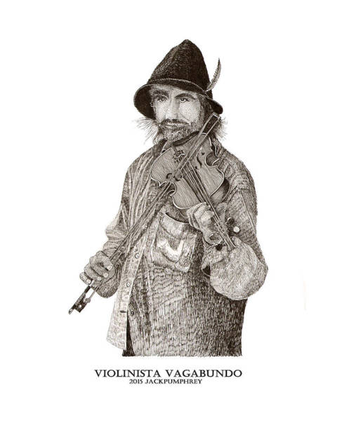 Busker Wall Art - Drawing - Violinista Busker Vagabundo by Jack Pumphrey