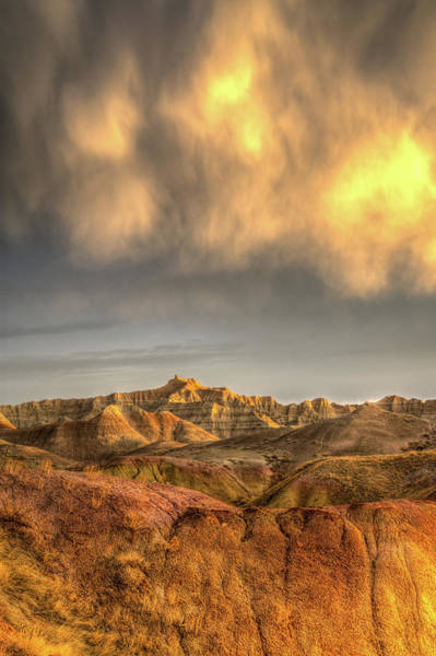 Photograph - Virga Over The Badlands by Fiskr Larsen
