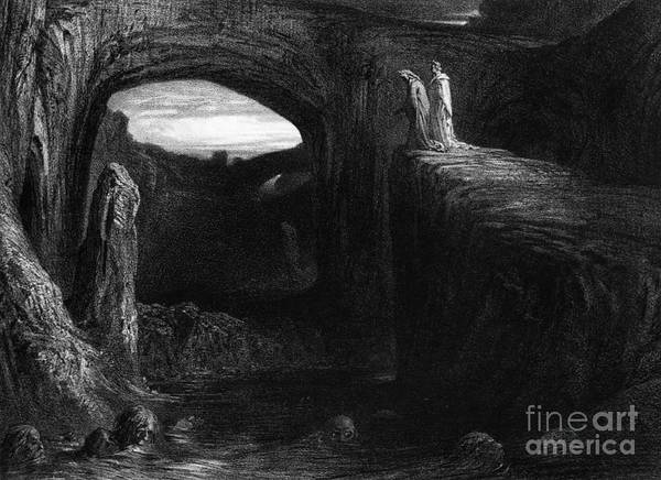 Pool Drawing - Virgil And Dante Entering Hell by Gustave Dore