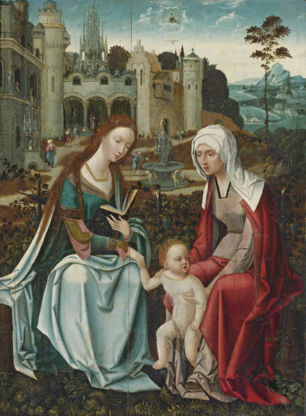 Saint Anne Painting - Virgin And Child With Saint Anne by Antwerp School