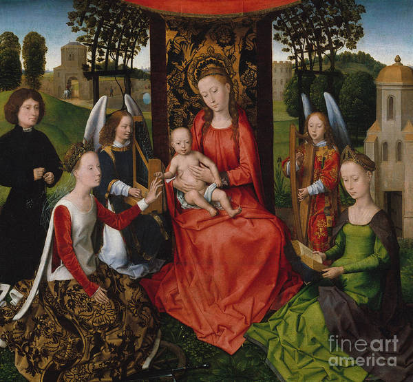 Wall Art - Painting - Virgin And Child With Saints Catherine Of Alexandria And Barbara, 1480 by Hans Memling
