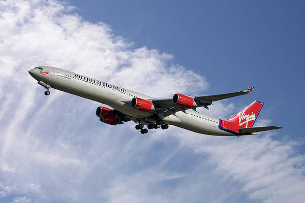 Atlantic Photograph - Virgin Atlantic Airbus A340-642 by Smart Aviation