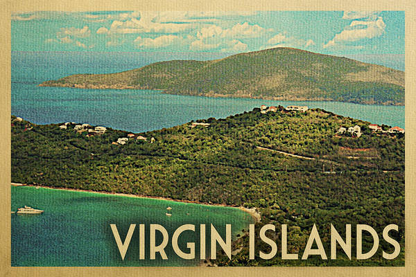 Virgin Digital Art - Virgin Islands Travel Poster - Vintage Travel by Flo Karp