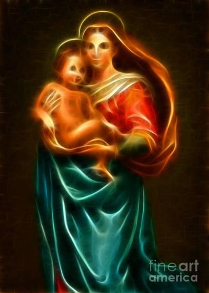 Wall Art - Mixed Media - Virgin Mary And Baby Jesus by Pamela Johnson