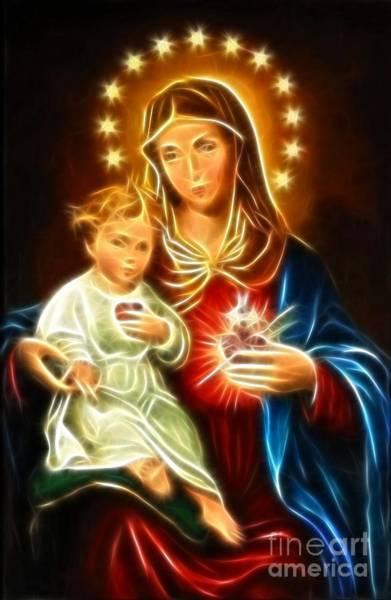 Crucifiction Wall Art - Mixed Media - Virgin Mary And Baby Jesus Sacred Heart by Pamela Johnson
