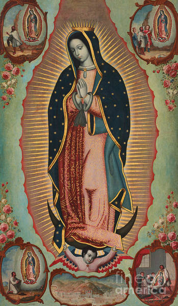 Wall Art - Painting - Virgin Of Guadalupe by Nicolas Enriquez