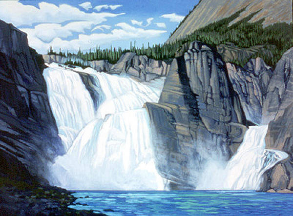 Wall Art - Painting - Virginia Falls Nahanni River by Paul Gauthier