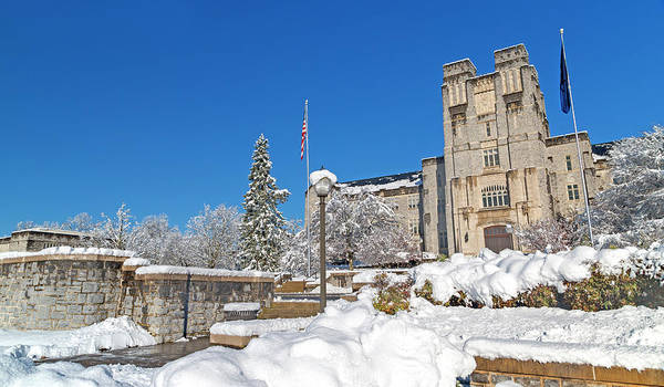 Wall Art - Photograph - Virginia Tech Campus Burruss Hall Snow Day by Betsy Knapp