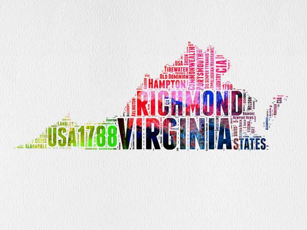 Virginia Wall Art - Digital Art - Virginia Watercolor Word Map by Naxart Studio
