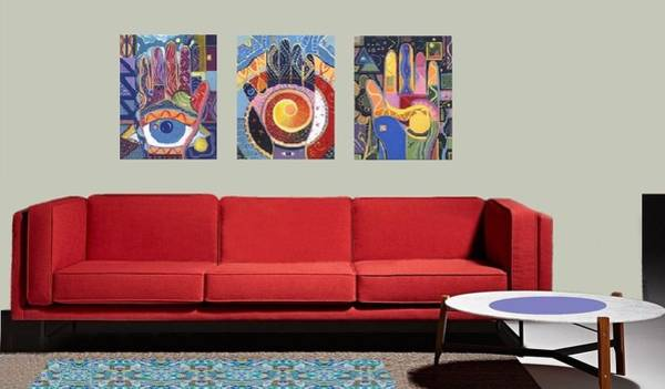 Photograph - Virtual L R With 3 Paintings From The Spreading Goodwill - Blessings Series by Helena Tiainen