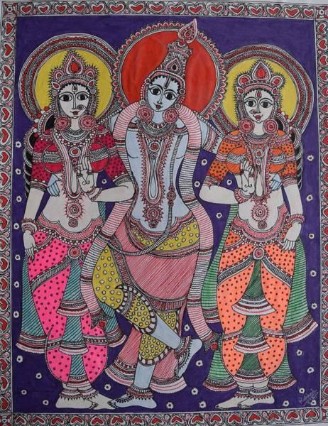 Kalamkari Painting - Vishnu by M Ande