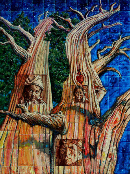 Wall Art - Painting - Vision Of The Ancient Pine by John Lautermilch