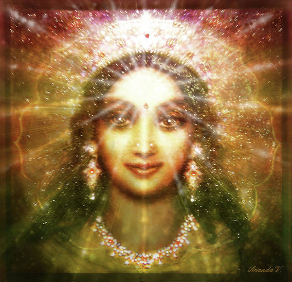 Wall Art - Mixed Media - Vision Of The Goddess - Light by Ananda Vdovic