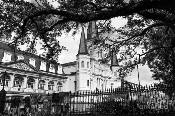 Wall Art - Photograph - Visions Of The St. Louis Cathedral Mono by John Rizzuto